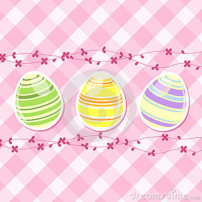 Easter egg and spring flowers on pink gingham