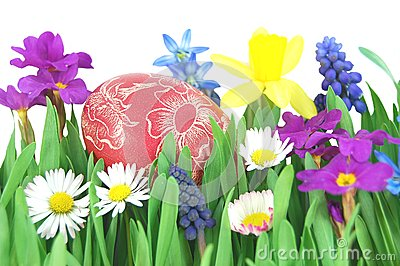Easter egg on a spring meadow
