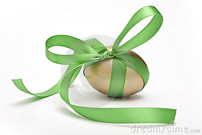 Easter egg tied by ribbon