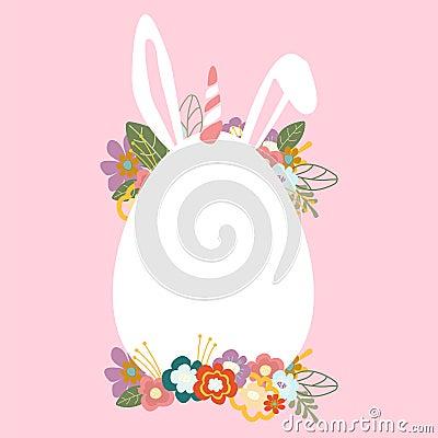 Easter egg unicorn postcard Vector Illustration