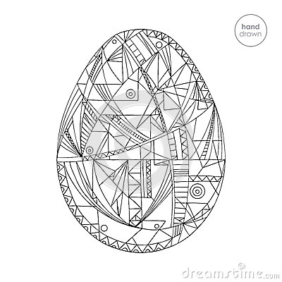 Easter egg vector illustration. Hand drawn abstract holidays design in modern style. Coloring page. Vector Illustration