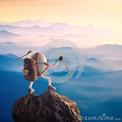 Free Easter Egg With Raised Hands Standing On A Mountain Top Royalty Free Stock Photos - 112976288