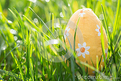 Easter egg nestled in the grass
