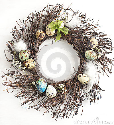 Free Easter Egg Wreath On A White Wooden Background. Stock Image - 37098691