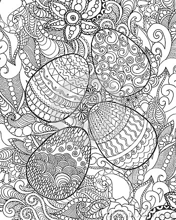 Free Easter Eggs And Flowers Coloring Page Stock Photography - 67465602