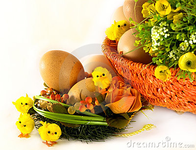 Easter: eggs, basket, flowers and chickens