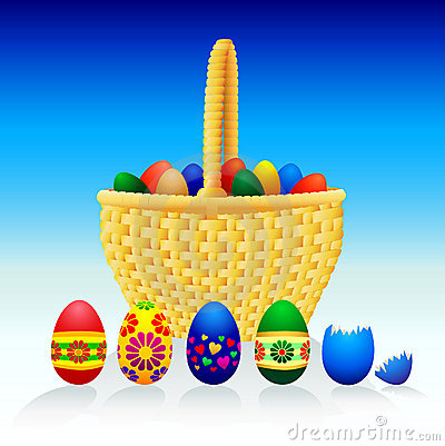 Easter Eggs and Basket - Vector