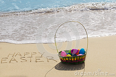 Easter eggs on the beach
