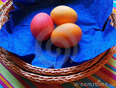 Easter eggs on blue serviette