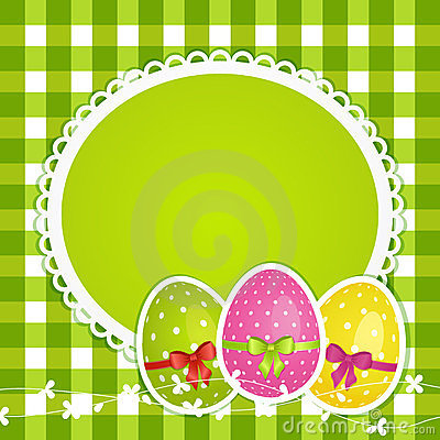 Easter eggs and border  on green gingham