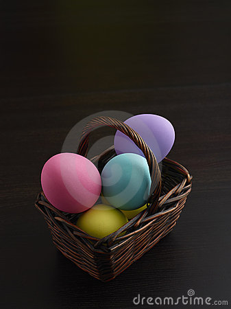 Easter Eggs in Brown Basket