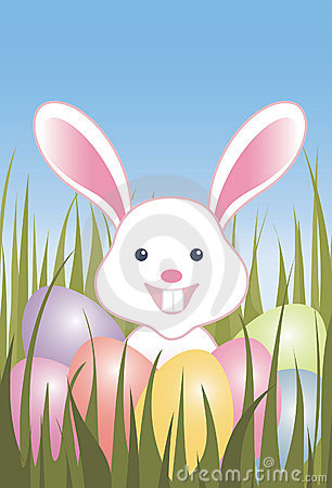 Easter eggs and bunny in grass