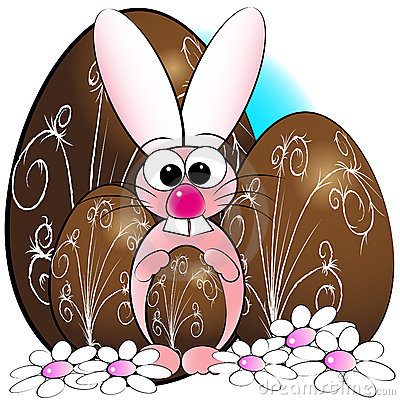 Easter eggs and bunny - Kids illustration