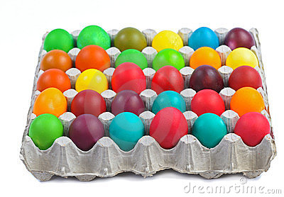 Easter eggs in carton