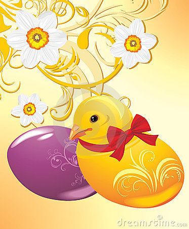 Easter eggs and chick on the ornamental background