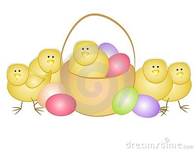 Easter Eggs and Chicks With Basket