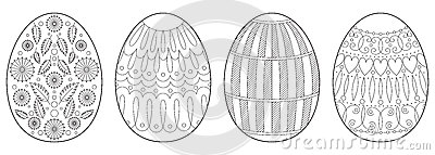 Easter eggs coloring book page Vector Illustration