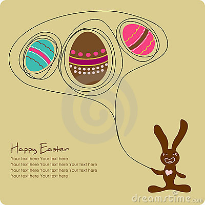 Easter eggs with cute cartoon bunny