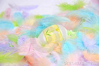 Easter eggs with feathers