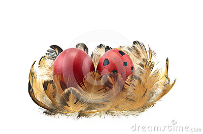 Easter eggs on feathers