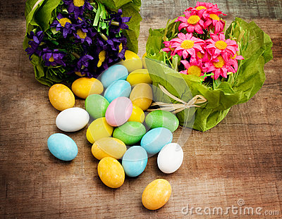 Easter eggs with floral decorations