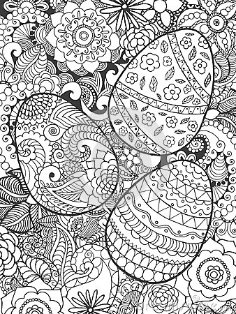 Christelijke Kleurplaten Volwassenen Easter Eggs And Flowers Coloring Page Stock Vector Image