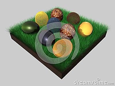 Easter eggs - grass - 3D