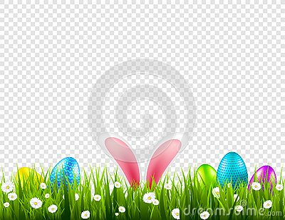 Easter eggs on grass with bunny rabbit ears set. Spring holidays in April. Sunday seasonal celebration with egg hunt. Vector Illustration