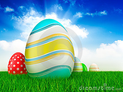Easter eggs on grass and sky background
