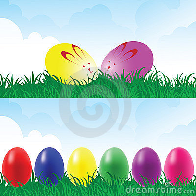 Easter eggs in a grassland.