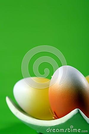 Easter eggs on green backgroun