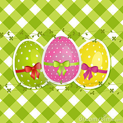 Easter eggs on a green gingham border