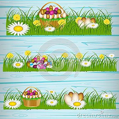 Easter eggs on the green grass. Vector Illustration