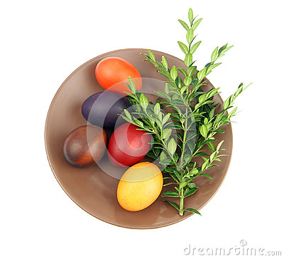 Easter eggs and green sprig