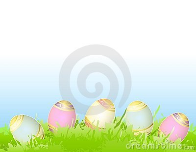 Easter Eggs in Green Spring Grass