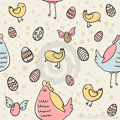 Easter eggs, hen and chicken seamless texture