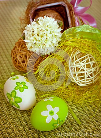 Easter eggs and hyacinth