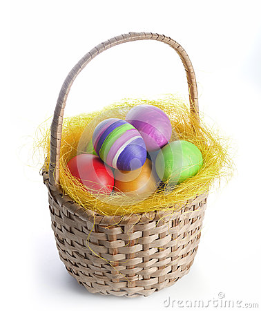 Free Easter Eggs In A Basket Stock Photos - 36182993