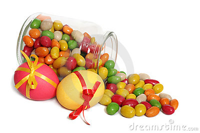 Easter eggs and jelly beans Stock Photo