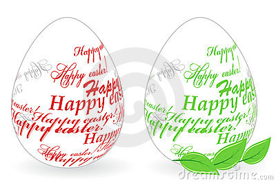 Easter eggs made of Happy easter phrase