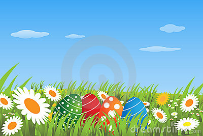 Easter eggs in a meadow - vector