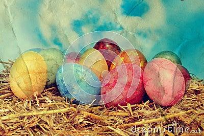 easter eggs on a nest