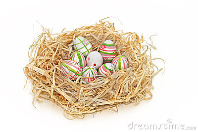 Easter eggs into a nest