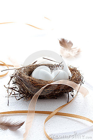 Easter eggs in a nest with ribbons and feathers
