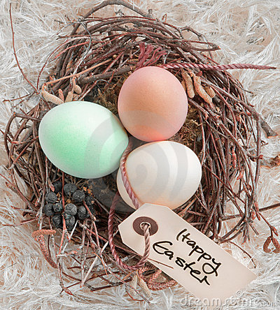 Easter Eggs In A Nest With Tag