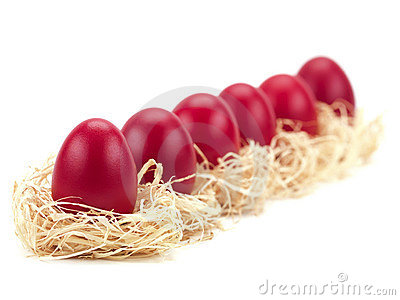 Easter eggs in nests