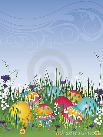 Free Easter Eggs On Grass 02 Royalty Free Stock Photos - 13364368
