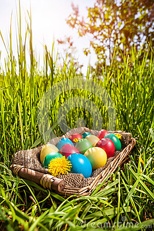 Free Easter Eggs On The Grass Stock Image - 37084311