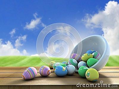 Easter eggs outside