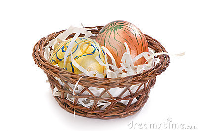 easter eggs painted by hand in small basket